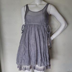 CECICO gray crinkled tencel lace hem dress